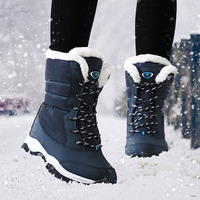 Women Hiking Boots Non Slip Waterproof Winter Ankle Snow Boots Female Platform Outdoor Shoes Sneakers With Thick Fur Botas Mujer