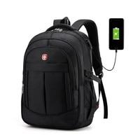 SWISS 17 inch usb Men's black Laptop Backpack Anti theft Multifunctional Backpack Quality Big Travel Backpack Waterproof