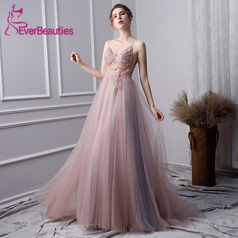 Luxury   Prom     Dresses   2019 Tulle Beaded Vestidos De Gala Evening Party   Dresses   Backless Spaghetti Straps   Prom   Gown Robe De Soiree