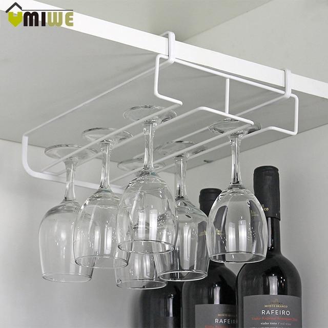 Under Cabinet Hanging Wine Cup Goblet Stainless Steel Gl Holder Rack Storage Organizer Champagne
