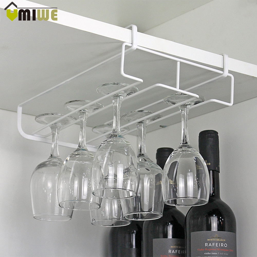 Under Cabinet Hanging Wine Cup Goblet Stainless Steel Glass Holder Wine Rack Storage Organizer Champagne Glass Holder Racks Bar