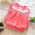 Осень и Весна Дети девушки цветок точка детские Футболки, детские Шифон передняя часть Дна рубашки, V1118