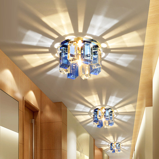 Modern Crystal Porch Ceiling Lamp Bedroom Hallway Living Room Semi Flush Mounted Corrider Lights TV