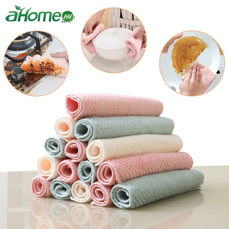 Kitchen Scouring Pad Dish Pot Cleaning Cloth Absorbent Dishcloth Dish Towel Napery Kitchen Rag Thickened Anti-oil Cleaning Tool