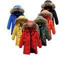 Crianças jaqueta de Pato para baixo Para Os Meninos de Inverno longa seção espessamento Quente Down & Parkas Meninas Casuais jaqueta de gola de pele para baixo