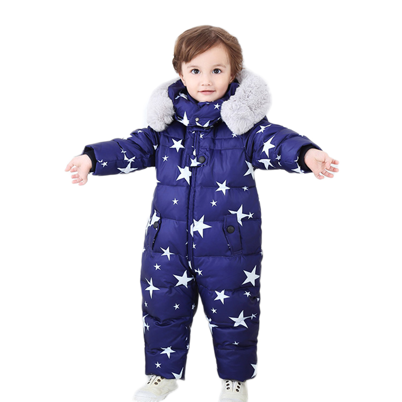 Russia Baby Winter Jumpsuit Clothing Warm Outerwear & Coats Snow Wear Duck Down Jacket Snowsuits for Kids Boys Girls Clothes стоимость