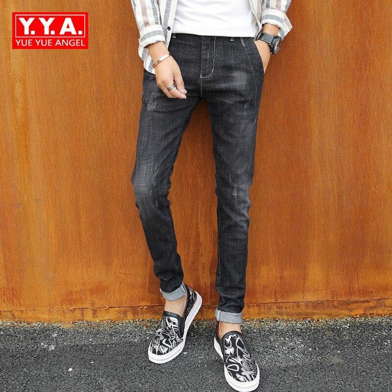 Fashion Mens Skinny Denim Pants Korean Slim Fit Black Grey Jeans Male Casual Big Boy Streetwear Mid Waist Full Length Trousers