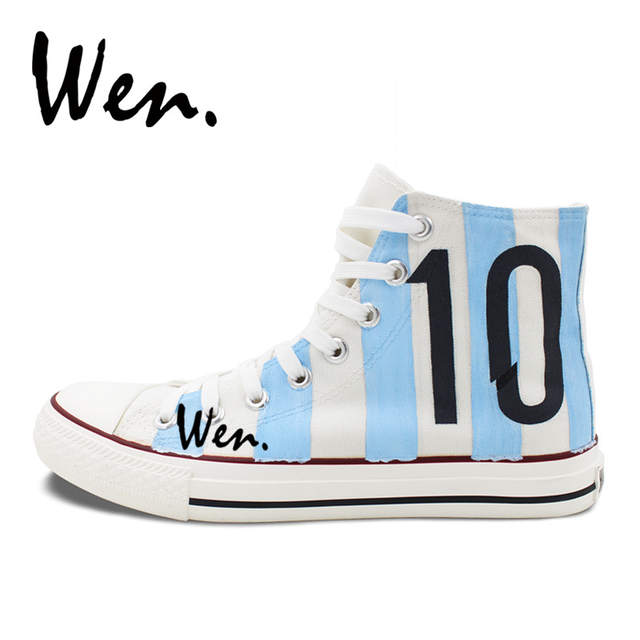 642ed18f38b placeholder Wen Design Argentina National Team Football Soccer Number 10  White Skateboarding Shoes Hand Painted Shoes Unisex