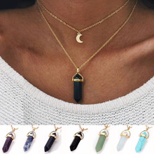 цены на 2018 NEW Opal Stone Moon Choker Necklaces Vintage 2017 New Fashion Multi Color Pendant Quartz Necklace for Women Boho Jewelry в интернет-магазинах