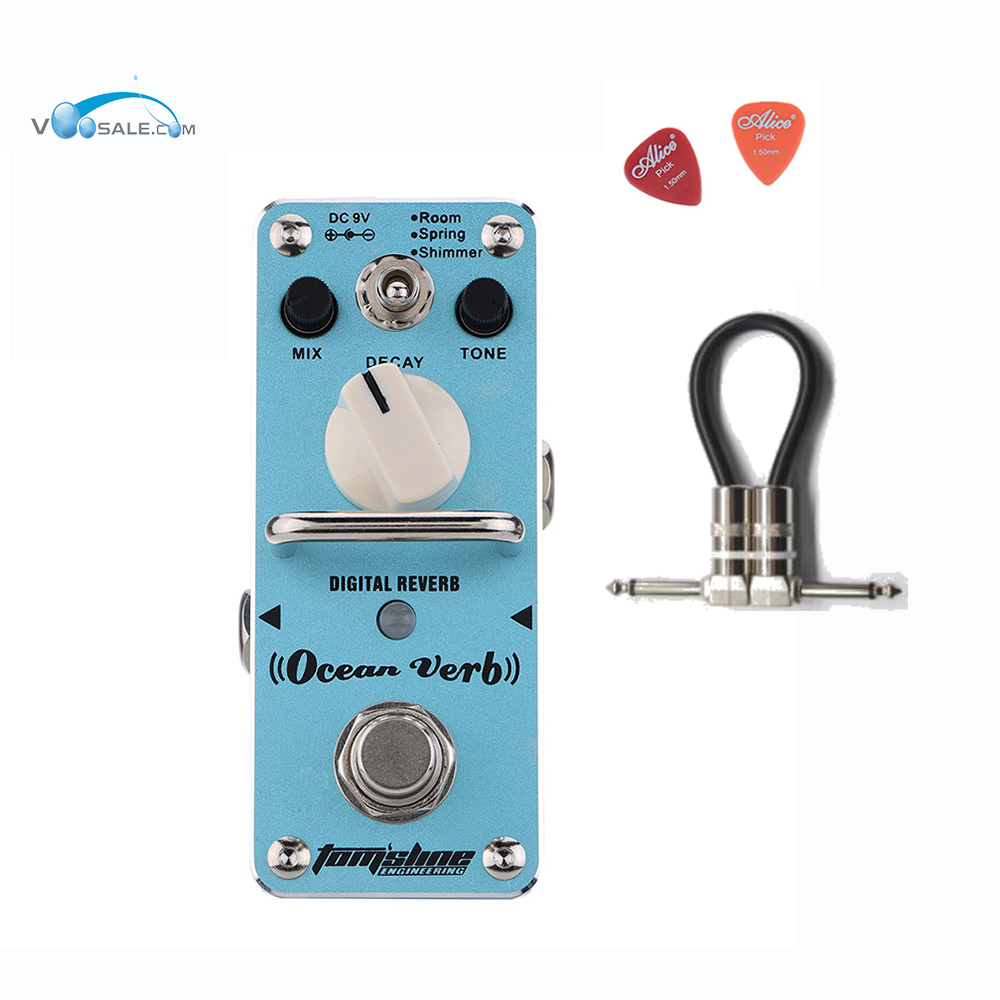 AOV-3 Ocean Verb Digital Reverb Electric Guitar Effect Pedal Aroma Mini Digital Pedals With True Bypass Guitar Parts+ Free Cable aroma tom sline abr 3 mini booster electric guitar effect pedal with aluminum alloy housing true bypass durable guitar parts