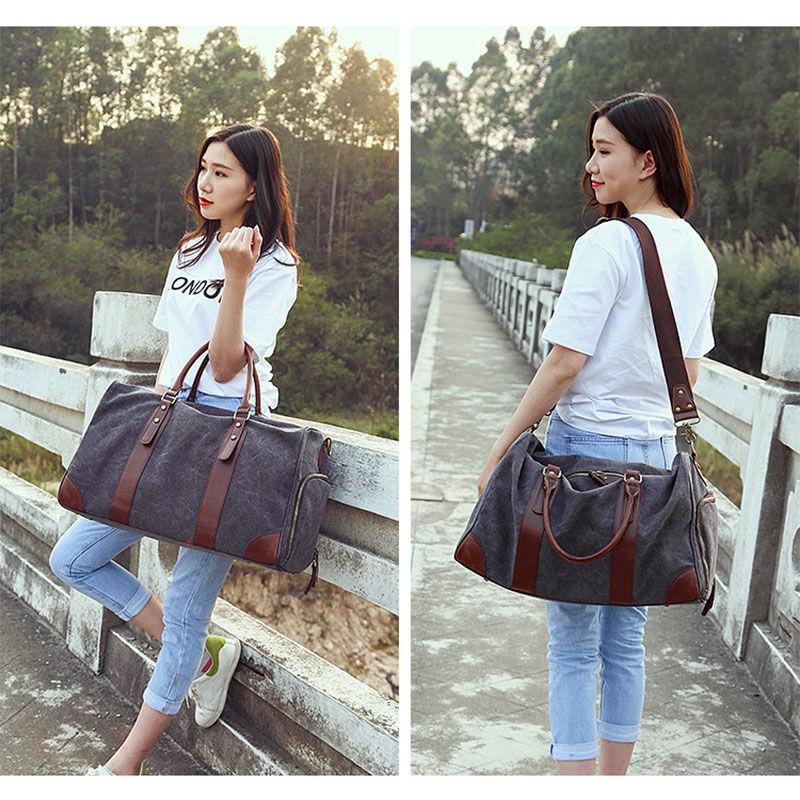 2558bafcd4 Women Men Gym Bag Luggage Travel Handbag Canvas Shoulder Bags Leather  Ladies Hanhbags Crossbody Briefcase Outdoor Sports XA245WA-in Gym Bags from  Sports ...