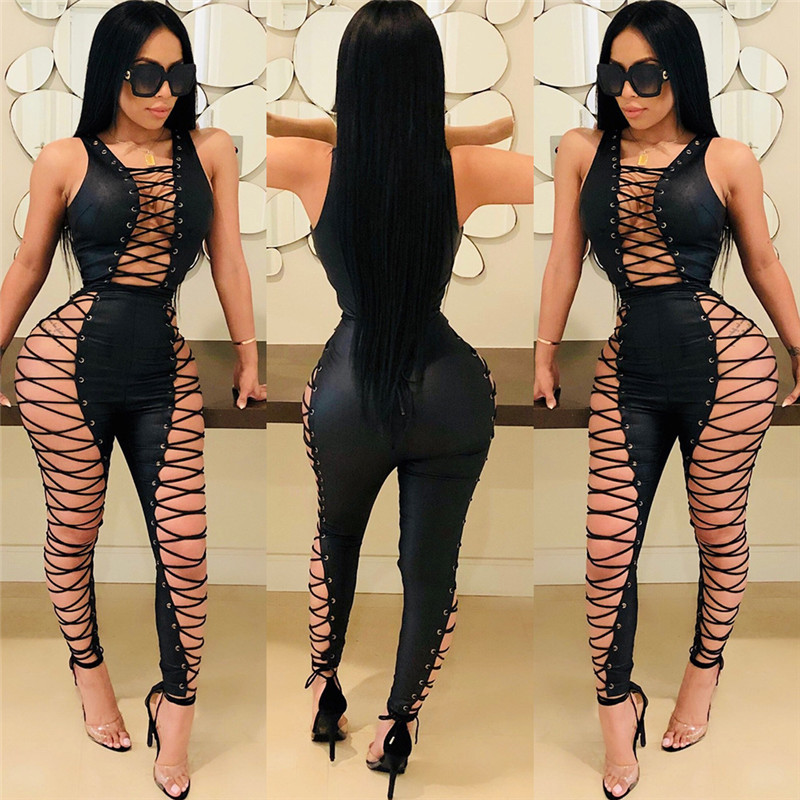 Side Lace Up Sexy Party Jumpsuit Hollow Out Nightclub 2
