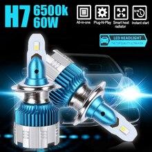 Car LED Headlamps 2pcs 6500K Waterproof Mini H7 60W LED Headlight Head Lamp Bulb