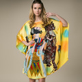 100% Silk Satin Dress Women Silk Dresses Natural Silk Free Size Handmade Painted Dress Yellow Color Free Shipping