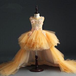 Вечерние платья для девочек, платья для крестин и крестин, платья с аппликацией для девочек 1 год