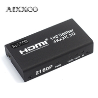 AIXXCO HDCP 4K HDMI Splitter Full HD 1080p Video HDMI Switch Switcher 1X2 Split 1 in 2 Out Amplifier Dual Display For HDTV DVD