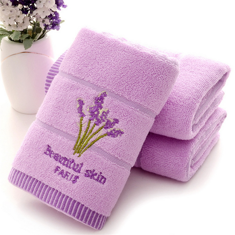 Urijk 1PC High Quality Lovers Hair Towel 100% Cotton Lavender Face Towel Soft Absorbent Gift Bath Accessories Dropshipping