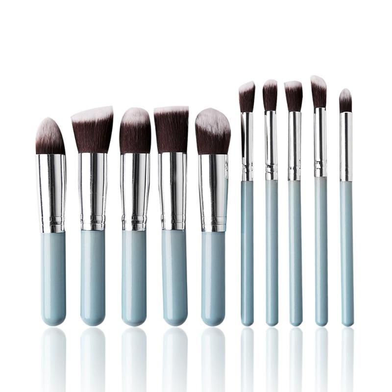 2017 10Pcs Pro Makeup Blush Brush Eyeshadow Powder Foundation Cosmetic Set Tool Women Face Beauty Nylon Hair Aluminum Tube