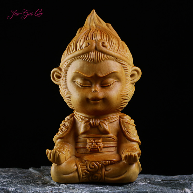 JIA-GUI LUO créatif buis bois sculpture artisanat singe modèle style chinois décoration de la maison sculpture sur bois soleil Wukong A003