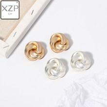 XZP Simple Trendy Cute Delicate Winding Joker Small Stud Earring For Women Gold Silver Color Fashion Jewelry