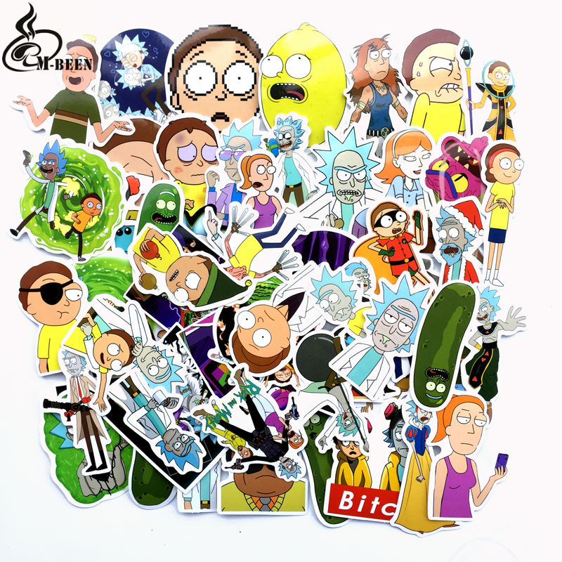 TD ZW 2018 69Pcs/lot American Drama Rick And Morty Stickers Decal For Snowboard Luggage Car Fridge Car- Styling Laptop Stickers