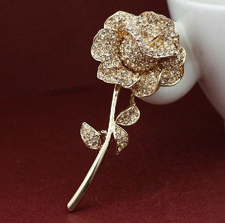 Rhinestone Crystal Diamante Beautiful Rose Flower Jewelry