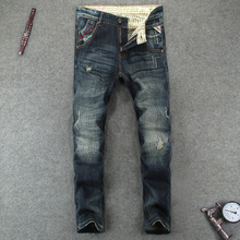High Quality Fashion Men's Jeans Casual Pants Retro Vintage Style Slim Fit Ripped Jeans Brand Designer Classical Jeans Men