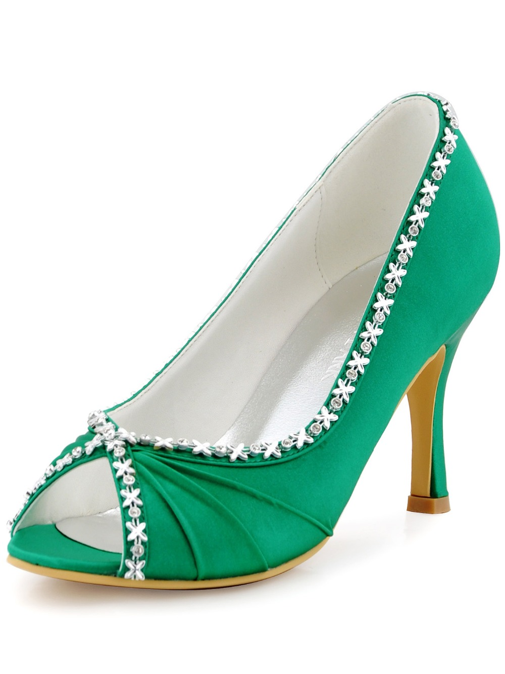 f09484cbffec EP2094 Women Shoes Green Wedding Pumps Evening Prom Peep Toe High Heel  Rhinestone Pleat Satin Bride Bridesmaid Party Dress Shoes-in Women s Pumps  from Shoes ...