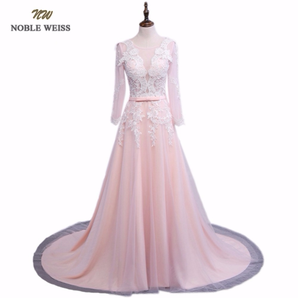 NOBLE WEISS Robe De Soiree Appliques Sexy Long Evening Dresses Bride Banquet Elegant Court Train Custom Made Prom Dress(China)