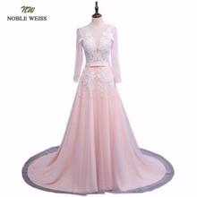 Noble Weiss Robe De Soiree Applicaties Sexy Lange Avondjurken Bruid Banket Elegante Hof Trein Custom Made Prom Dress