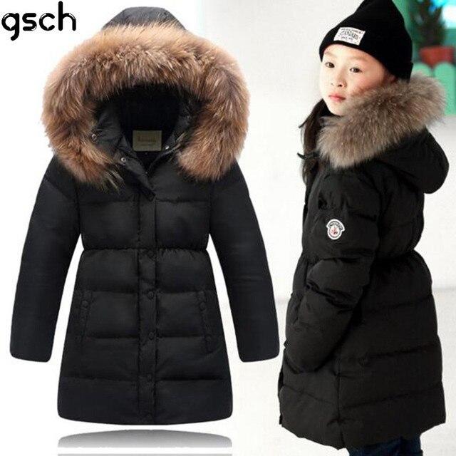Дети зимние куртки для девочек 2016 длинный теплый толстый 80% утка пуховик дети шуба с капюшоном зимой дети одежда roupas пуховик для девочки зимняя куртка для девочки куртка для девочки