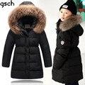 Niños chaquetas de invierno para niñas 2016 largo caliente grueso 80% pato abajo cabritos de la chaqueta abrigo de piel con capucha de invierno ropa de los niños roupas