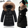 children winter jackets for girls 2016 long warm thick 80% duck down jacket kids fur coat hooded winter children clothing roupas
