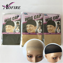 Beige/Black Human Hair Wig Cap Hair Net For Weave Hairnets Wig Nets Stretch Mesh Wig Cap for Making Wigs Free Size Aofire(China)