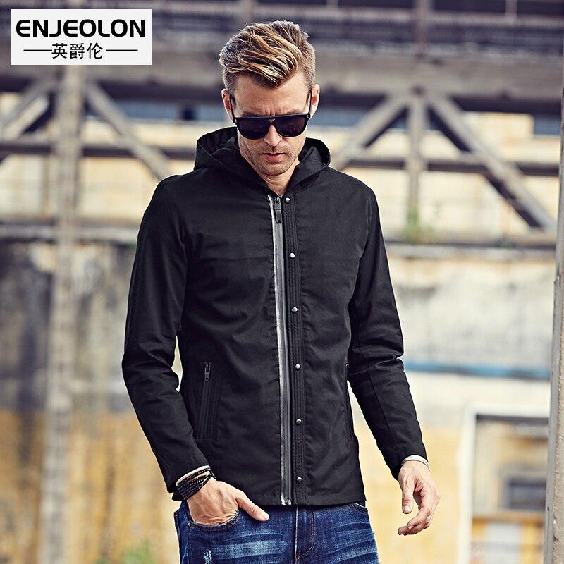 Enjeolon 브랜드 가을 남성 후드 폭격기 윈드 브레이커 자켓 코트 블랙 솔리드 전술 재킷 남성 캐주얼 코트 남성 wt0512-에서재킷부터 남성 의류 의  그룹 1