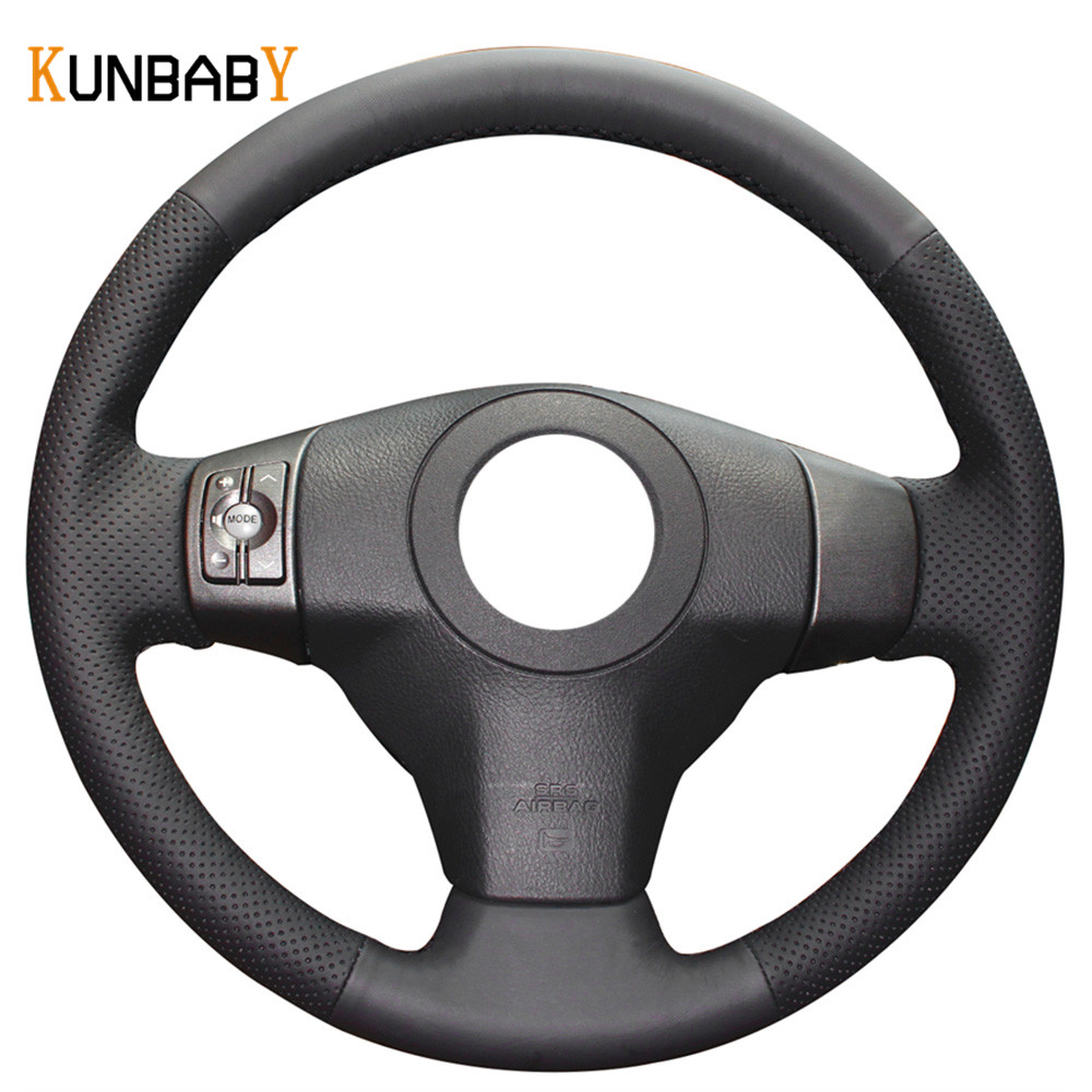 Kunbaby color black red genuine leather car steering wheel cover for toyota yaris vios rav4 2006 2009 scion xb 2008