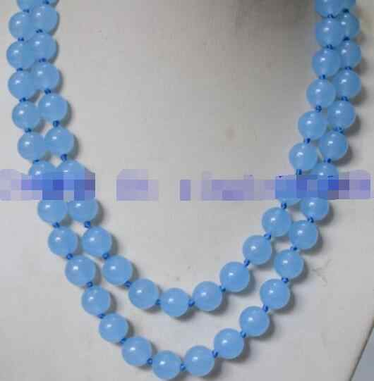 DYY Free Shipping >>Natural 10mm Sea Blue African Topaz Jade Gems Bead Necklace 32""