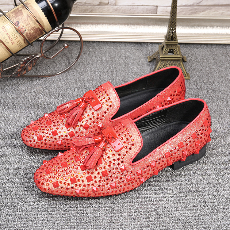 Plus Size 37-46 Men Shoes Tassels Loafers Slip on Rhinestone Genuine Leather Casual Driving Mocassins Pointed Toe Wedding Shoes big size 37 46 genuine leather men loafers breathable soft soled men shoes men moccasin driving men leather shoes