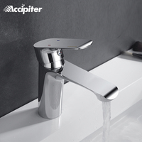 Bathroom Faucet Deck Mounted Basin Mixer Faucet Chrome Sink Tap Vanity Hot Cold Water Faucet White Painting Tap Faucet