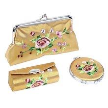 3-in-1 Wallet Handbag Lipstick Holder Case Set, Champagne