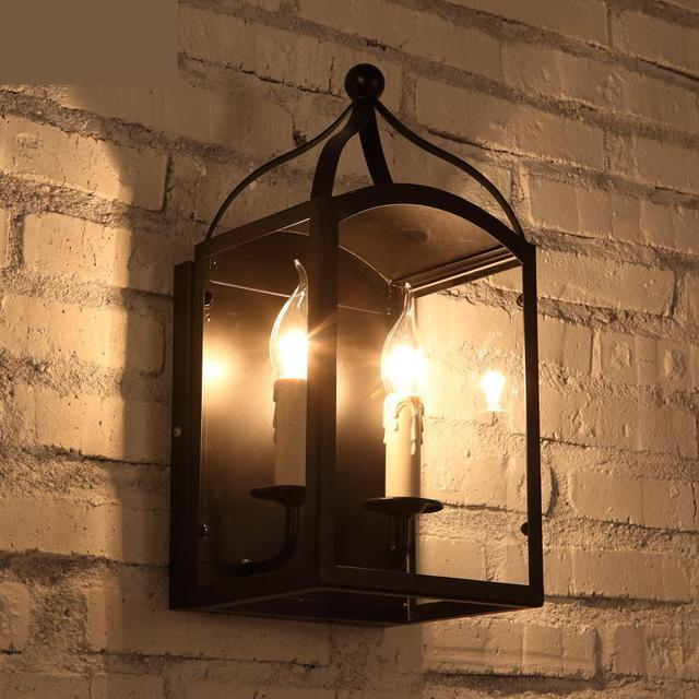 Cottage 2 Head Black Iron Lamp Italy Style Retro Rustic Bar Wall Antique Corridor Cafe Lighting Lique Murale Luminaire