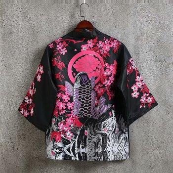 Letni mężczyzna otwórz Stitch 3 4 rękaw luźna bawełniana kurtka Kimono Cardigan styl japoński Harajuku Streetwear płaszcz tanie i dobre opinie Print Trzy czwarte Batwing rękawem Skręcić w dół kołnierz NONE SILK REGULAR Luźne Japan style Poliester Konwencjonalne