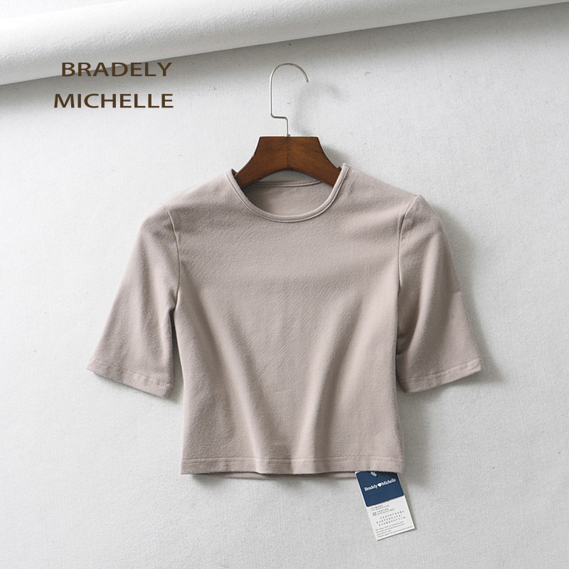 HTB11fDpafLsK1Rjy0Fbq6xSEXXa7 - BRADELY MICHELLE crop tops for women Sexy female pure cotton o-neck half-length sleeve solid elasticity shirt