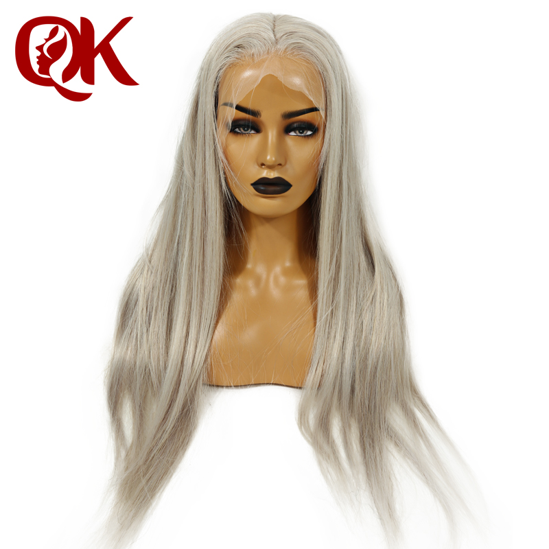 QueenKing волос полный кружево парик 150% плотность пепел блондинка серый цвет парик прямой сорвал Hairline 100% бразильский человеческие волосы remy