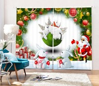 Luxury 3D Christmas Decorative Window Blackout Curtains For Living Room Bedding Room Drapes Cotinas Para Sala
