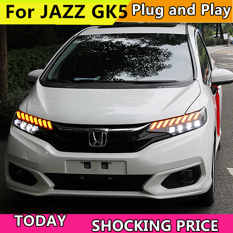 For Honda FIT JAZZ GK5 2014 2018 Headlights LED DRL Running lights Bi Xenon Beam Fog lights angel eyes Auto in Car Light Assembly from Automobiles Motorcycles