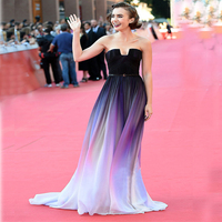 Lily Collins Ombre Celebrity Dress Just Won The Weekend Red Carpet Color Chiffon Sexy Long Runway