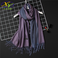 1PC 2017 Winter New Fashion Soild Double Sides Imitation Cashmere Women Long Tassels Scarf Woman New