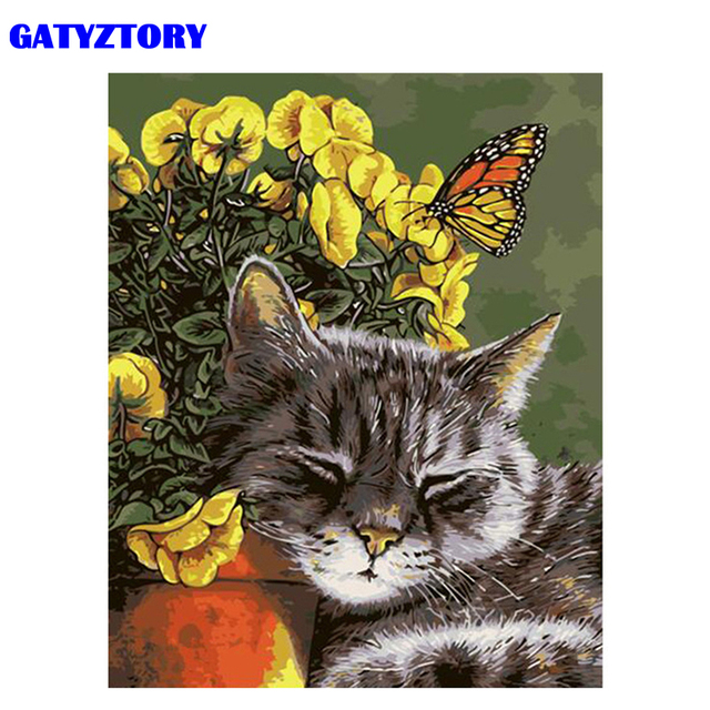 GATYZTORY Frame Cat Butterfly DIY Painting By Number Modern Wall Art Hand painted Oil Painting Acrylic Paint On Canvas 40x50cm