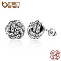 BAMOER Popular 925 Sterling Silver Weave Classic Push Back Stud Earring Women Jewelry Brinco PAS476